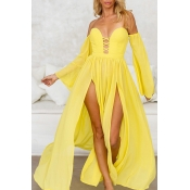 Lovely Sexy Hollow-out High Split Yellow Ankle Len