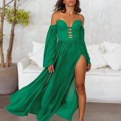 Lovely Sexy Hollow-out High Split Green Ankle Leng