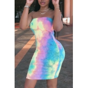 Lovely Off The Shoulder Tie-dye Mini Dress