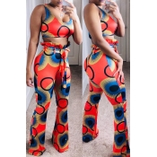 Lovely Chic Printed Red Two-piece Pants Set(With B