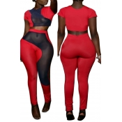 Lovely Casual Mesh Patchwork Red Two-piece Pants S