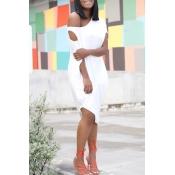 Lovely Chic One Shoulder Asymmetrical White Knee L