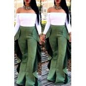 Lovely Stylish High Elastic Ruffle Design Green Pa
