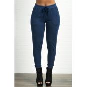 Lovely Casual High Elastic Dark Blue Pants