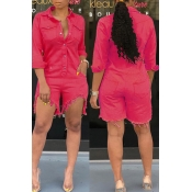 Lovely Casual Buttons Design Red Denim One-piece Romper