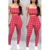 Lovely Women's Off The Shoulder Plaid Red Two-piec