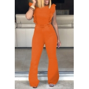 Lovely Trendy Ruffle Design Orange Denim One-piece Jumpsuit