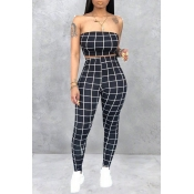 Lovely Women's Off The Shoulder Plaid Black Two-pi