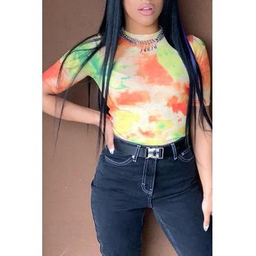 Bella Maglietta Multicolor Stampata Casual Stampata (senza Accessori)