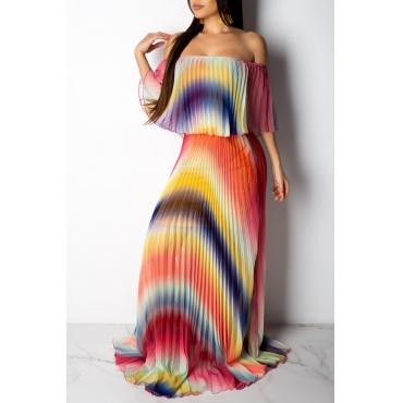 Reizendes Beiläufiges Mehrfarbenkleid Des Farbe-Klumpens Lang