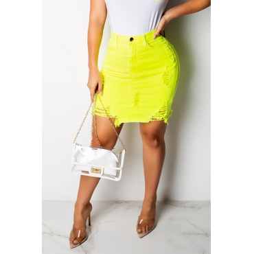 Lovely Casual Broken Holes Yellow Mini A Line Skirts