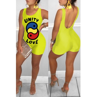 Lovely Casual Printed Backless Yellow One-piece Romper(With Elastic)