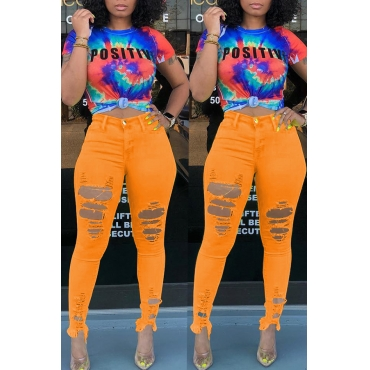 Lovely Casual High Waist Broken Holes Orange Jeans