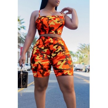 Lovely Leisure Camouflage Printed Orange Two-piece Shorts Set