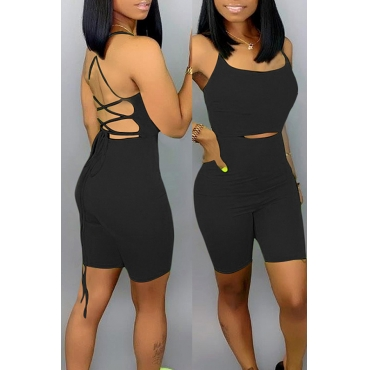 Lovely Sexy Lace-up Hollow-out Black One-piece Romper(With Elastic)