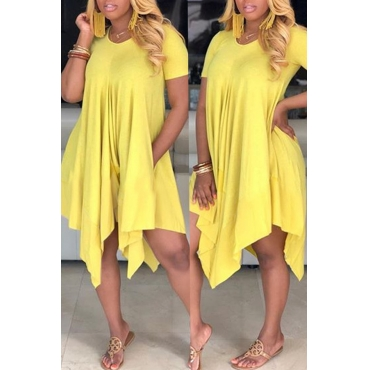 Lovely Casual Asymmetrical Yellow Mini Dress(With Elastic)