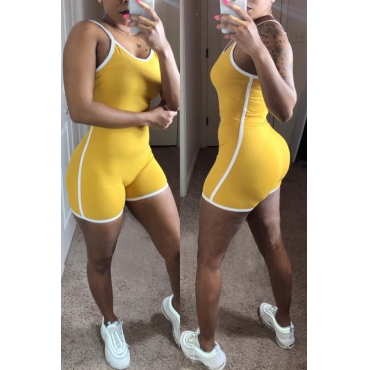 Lovely Casual Patchwork Yellow One-piece Romper