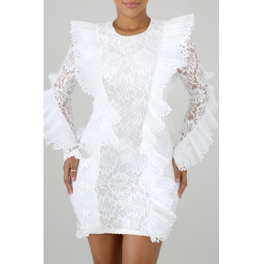 Lovely Womens Lace Patchwork White Mini Dress(With Elastic)