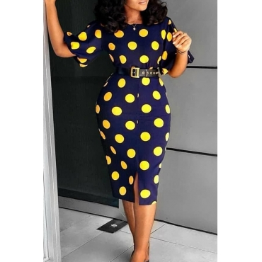 Lovely Work Dots Printed Knee Length Dress(With Elastic)