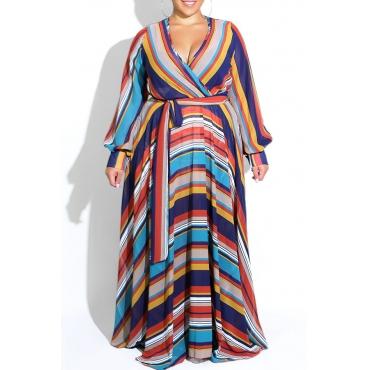 Lovely Hot V Neck Striped Dark Blue Floor Length Dress(With Elastic)