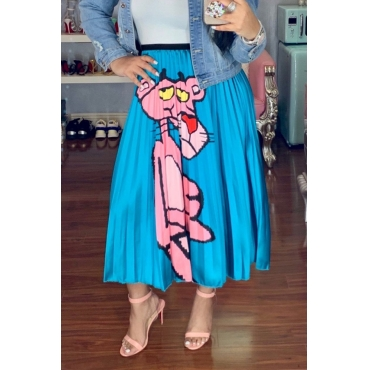 Lovely Casual Printed Blue Ankle Length A Line Skirt