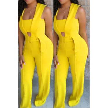 Lovely Stylish Hollow-out Yellow One-piece Jumpsuit(With Elastic)