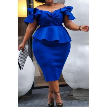 Lovely Trendy Ruffle Design Blue Mid Calf Dress