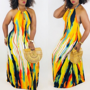 Lovely Sexy Halter Neck Printed Floor Length A Line Dress(With Elastic)