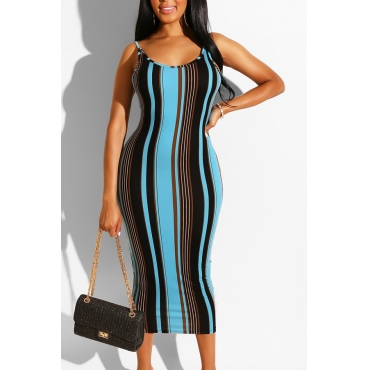 Lovely Casual Striped Backless Mid Calf Dress