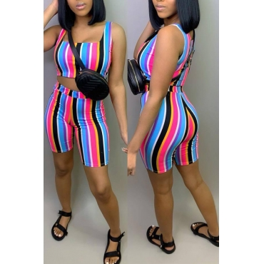 Lovely Leisure Striped Black Two-piece Shorts Set