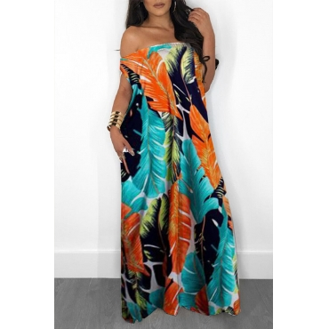 Lovely Stylish Off The Shoulder Printed Loose One-piece Jumpsuit