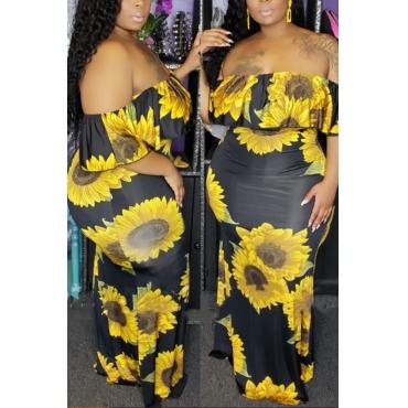 Lovely Bohemian Sunflower Printed Black Ankle Length Dress