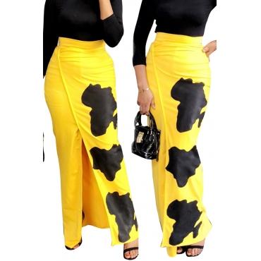 Lovely Trendy High Slit  Yellow Ankle Length Skirts