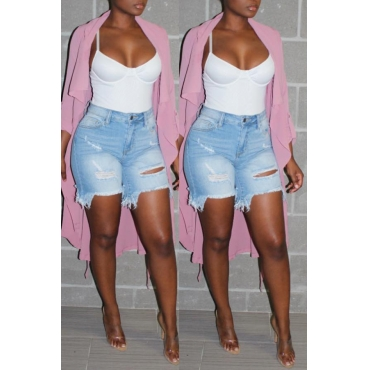 Lovely Casual Lapel Open Front Pink Coat