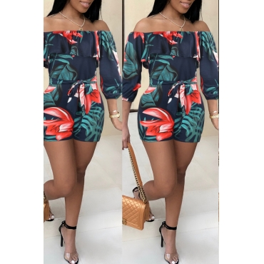 Lovely Sweet Dew Shoulder Navy One-piece Romper