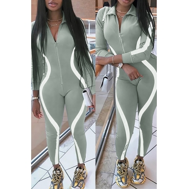 Lovely Casual Zipper Design Grey One-piece Jumpsuit(With Elastic)
