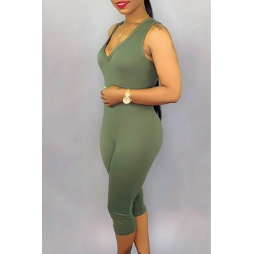 Lovely Casual V Neck Green One-piece Romper