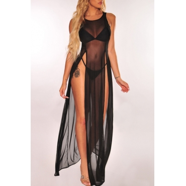 Lovely Sexy Black See-though High Split Cover-Ups(Without Lining)