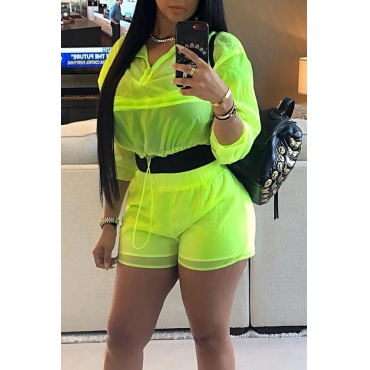 Lovely Casual V Neck Drawstring Design Green Two-piece Shorts Set