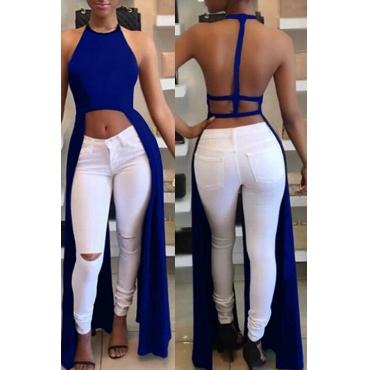 Lovely Sexy Backless Asymmetrical Blue Blouse