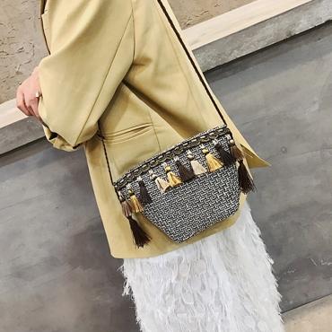 Lovely Stylish Tassel Design Beige Crossbody Bag