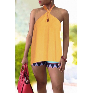Lovely Sexy Halter Neck Yellow Tank Top