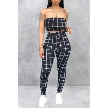 Lovely Women's Off The Shoulder Plaid Black Two-piece Pants Set