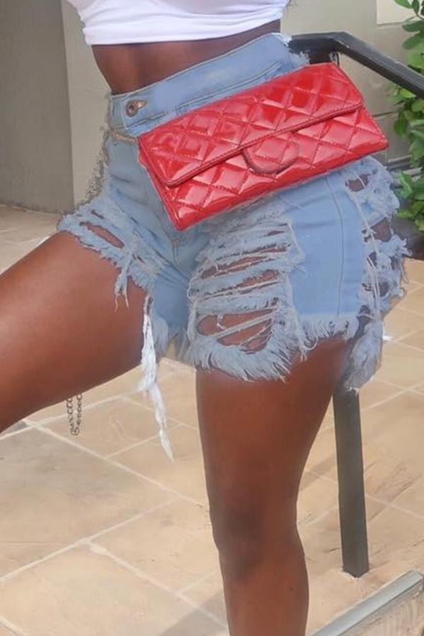 Lovely Casual Broken Holes Light Blue Shorts