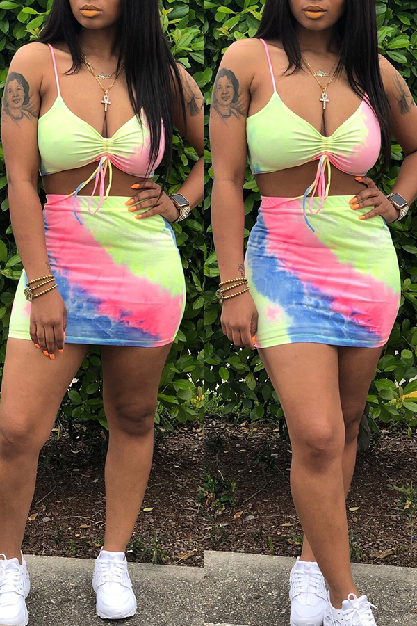 Lovely Casual Spaghetti Straps Tie-dye Printed Blue Two-piece Skirt Set