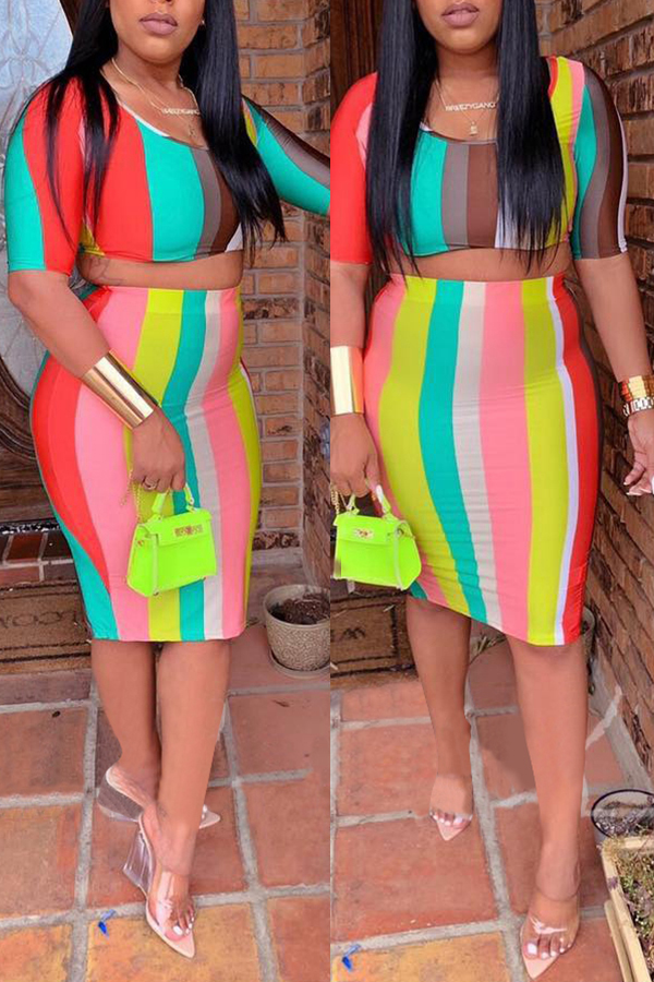 Lovely Casual O Neck Striped Two-piece Skirt Set