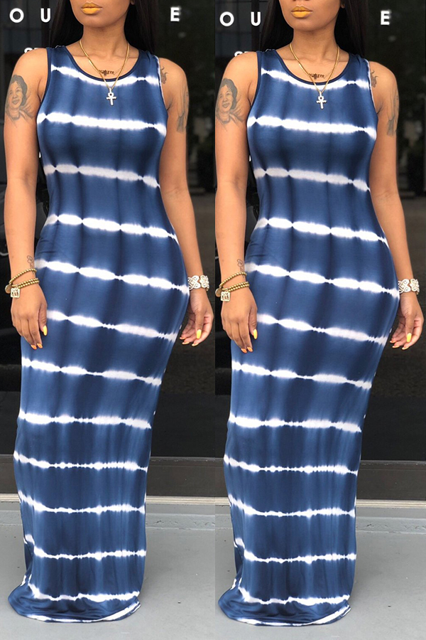 Lovely Casual O Neck Tie-dye Dark Blue Floor Length A Line Dress