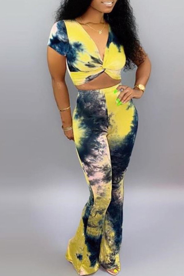 Lovely Casual V Neck Tie-dye Yellow Two-piece Pants Set