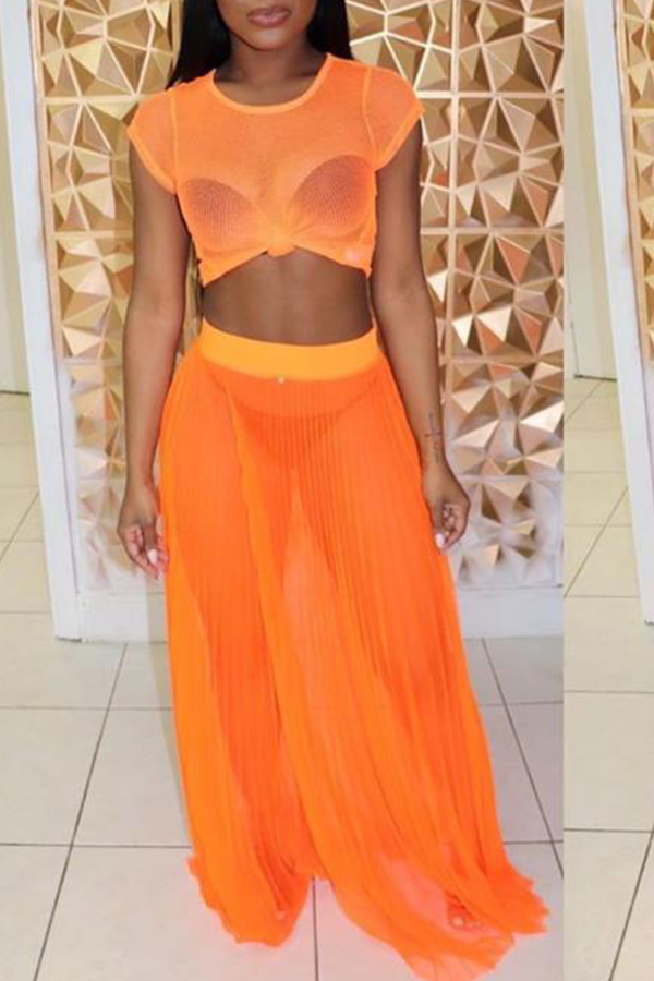 Lovely Sexy See-though Orange Gauze Two-piece Skirt Set