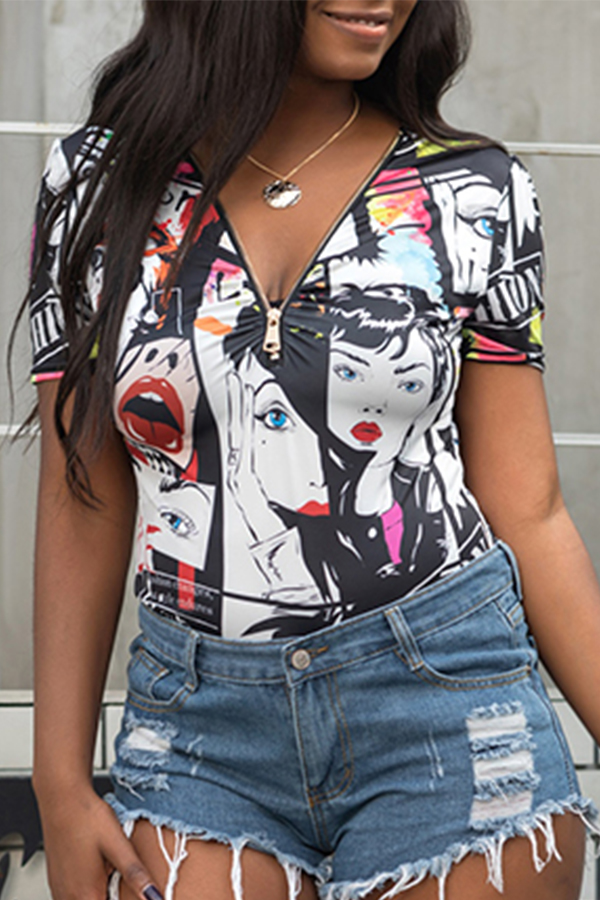 Lovely Leisure V Neck Printed Zipper Design T-shirt